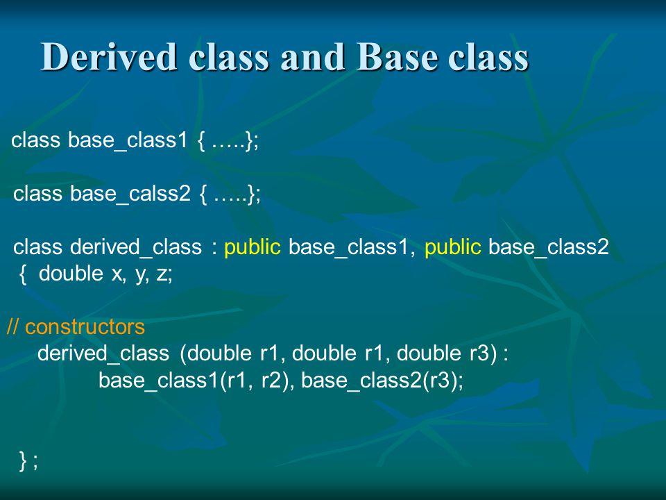 Properties of a derived class 1.Derived class 擁有 base class 的所有 members 和 member functions.