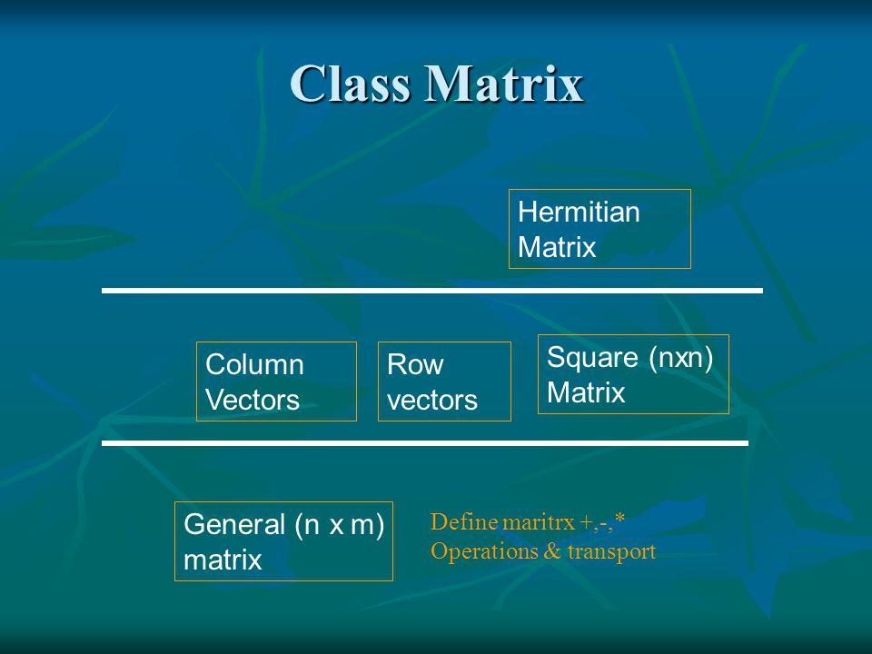 dspmatrix.h: real special matrices dspmatrix.h: real special matrices 1.Class dsqMatrix: real square matrix (n x n) 2.Class droVector: real row vector (1 x n) 3.Class dcoVector: real column vector (n x 1).