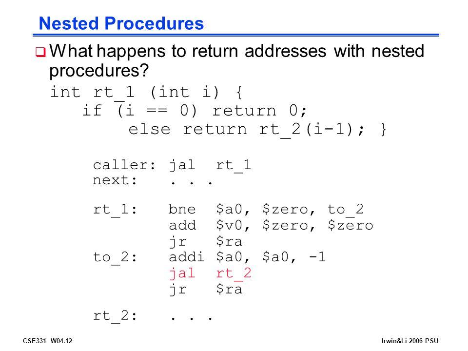 CSE331 W04.12Irwin&Li 2006 PSU Nested Procedures  What happens to return addresses with nested procedures.