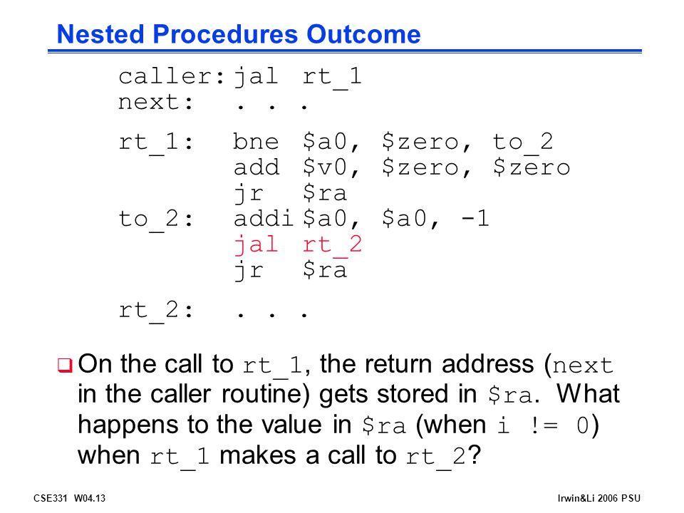 CSE331 W04.13Irwin&Li 2006 PSU Nested Procedures Outcome caller:jalrt_1 next:...
