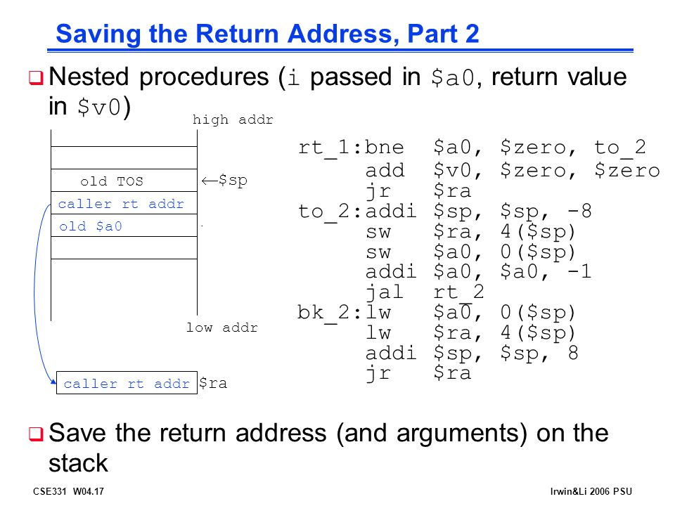 CSE331 W04.17Irwin&Li 2006 PSU Saving the Return Address, Part 2  Nested procedures ( i passed in $a0, return value in $v0 ) rt_1:bne$a0, $zero, to_2 add$v0, $zero, $zero jr$ra to_2:addi$sp, $sp, -8 sw$ra, 4($sp) sw$a0, 0($sp) addi$a0, $a0, -1 jalrt_2 bk_2:lw$a0, 0($sp) lw$ra, 4($sp) addi$sp, $sp, 8 jr$ra  Save the return address (and arguments) on the stack caller rt addr high addr  $sp low addr old $a0 $ra bk_2caller rt addr old TOS