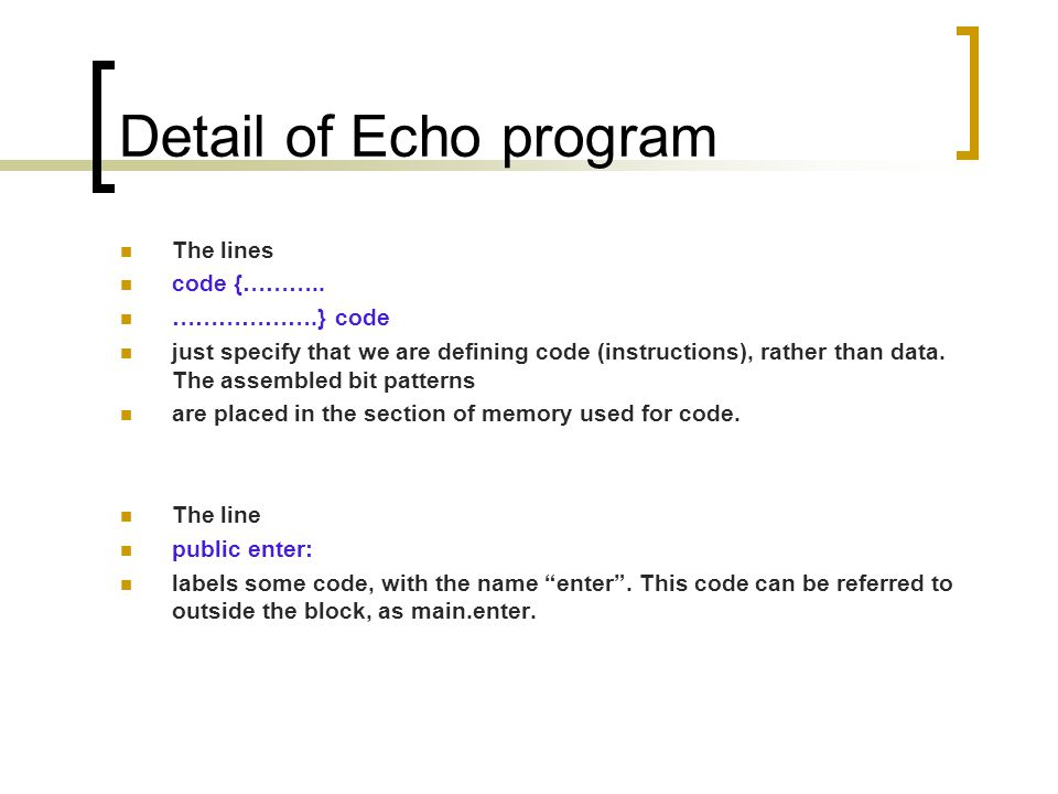 Detail of Echo program The lines code {………..