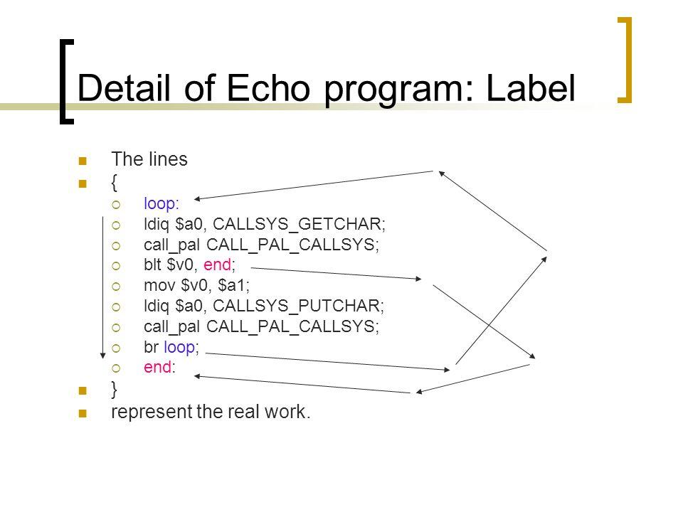 Detail of Echo program: Label The lines {  loop:  ldiq $a0, CALLSYS_GETCHAR;  call_pal CALL_PAL_CALLSYS;  blt $v0, end;  mov $v0, $a1;  ldiq $a0, CALLSYS_PUTCHAR;  call_pal CALL_PAL_CALLSYS;  br loop;  end: } represent the real work.