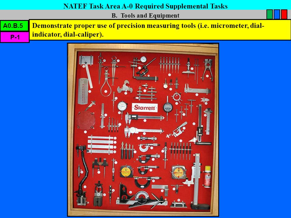 NATEF Task Area A-0 Required Supplemental Tasks B. Tools and Equipment Demonstrate proper use of precision measuring tools (i.e. micrometer, dial- ind
