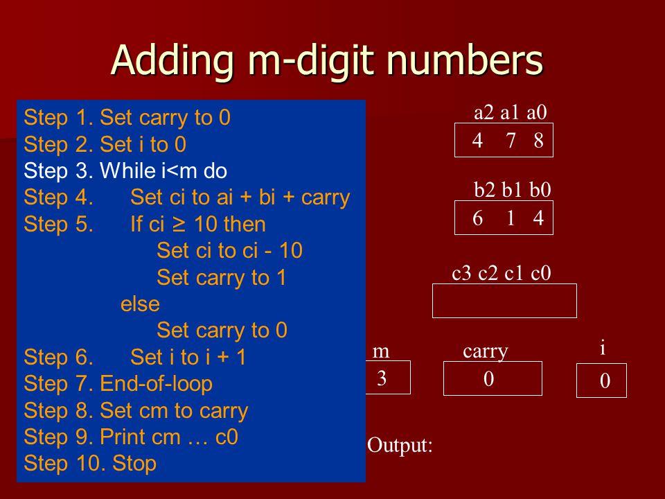 Adding m-digit numbers a2 a1 a0 4 7 8 b2 b1 b0 6 1 4 c3 c2 c1 c0 carry 0 i Output: Step 1.