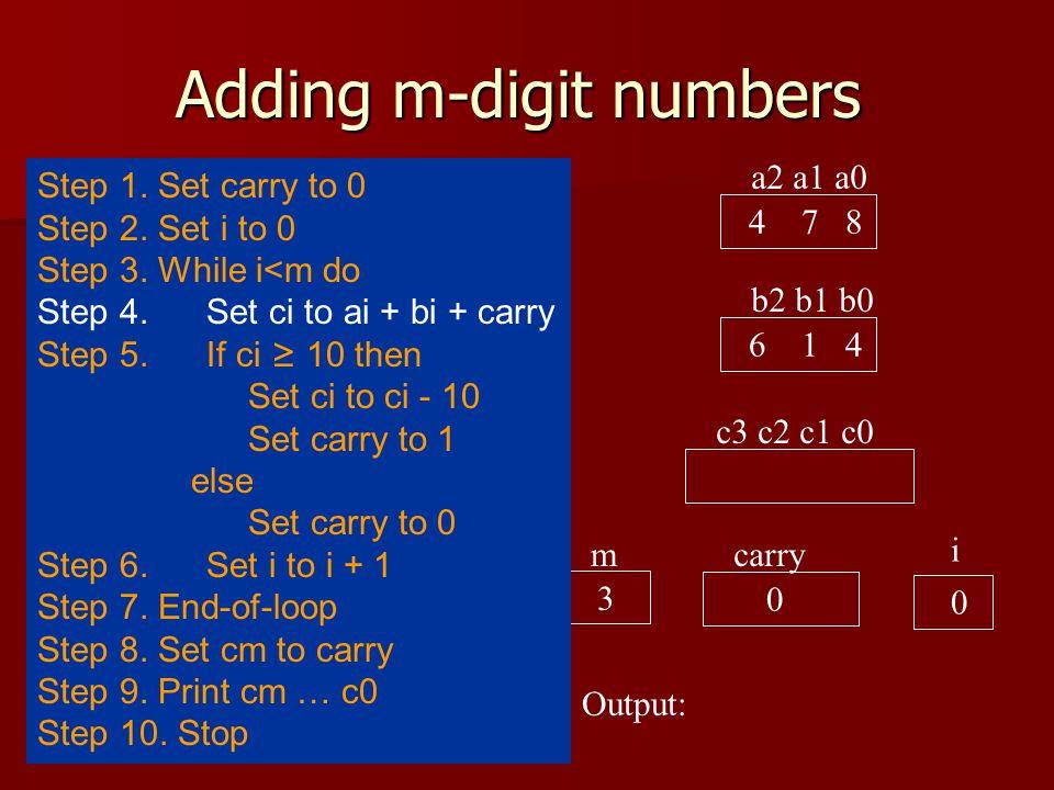 Adding m-digit numbers a2 a1 a0 4 7 8 b2 b1 b0 6 1 4 c3 c2 c1 c0 carry 0 i 0 Output: 3 m Step 1.