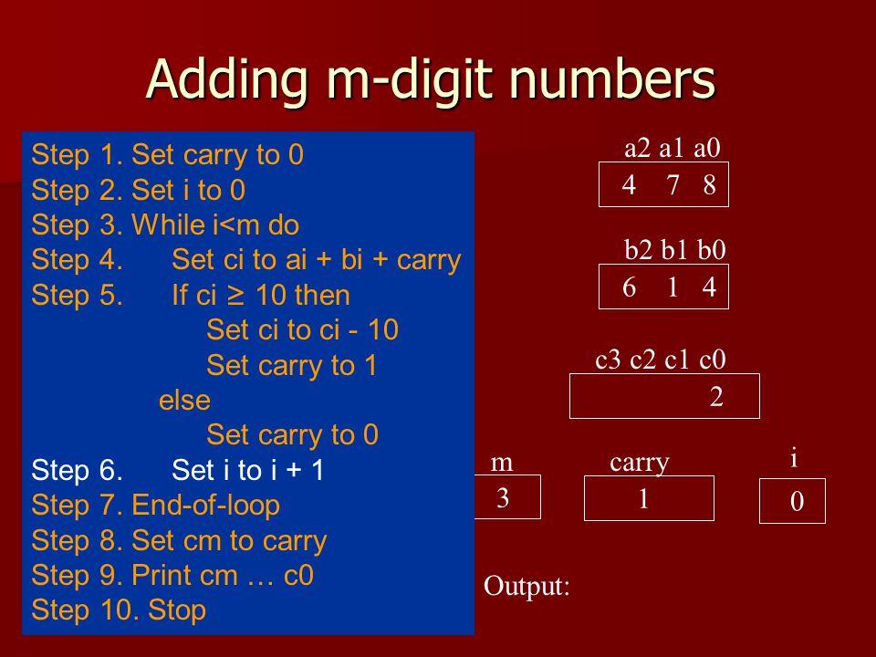 Adding m-digit numbers a2 a1 a0 4 7 8 b2 b1 b0 6 1 4 c3 c2 c1 c0 2 carry 0 i 0 Output: 3 m Step 1.