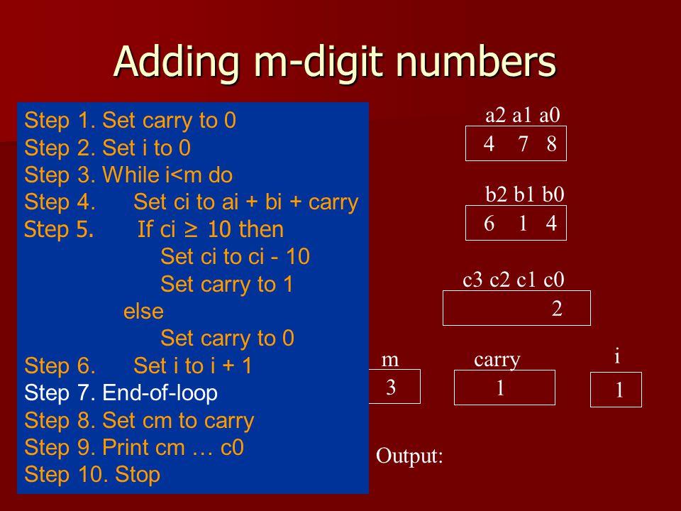 Adding m-digit numbers a2 a1 a0 4 7 8 b2 b1 b0 6 1 4 c3 c2 c1 c0 2 carry 1 i 0 Output: 3 m Step 1.