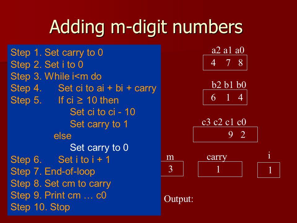 Adding m-digit numbers a2 a1 a0 4 7 8 b2 b1 b0 6 1 4 c3 c2 c1 c0 9 2 carry 1 i 1 Output: 3 m Step 1.