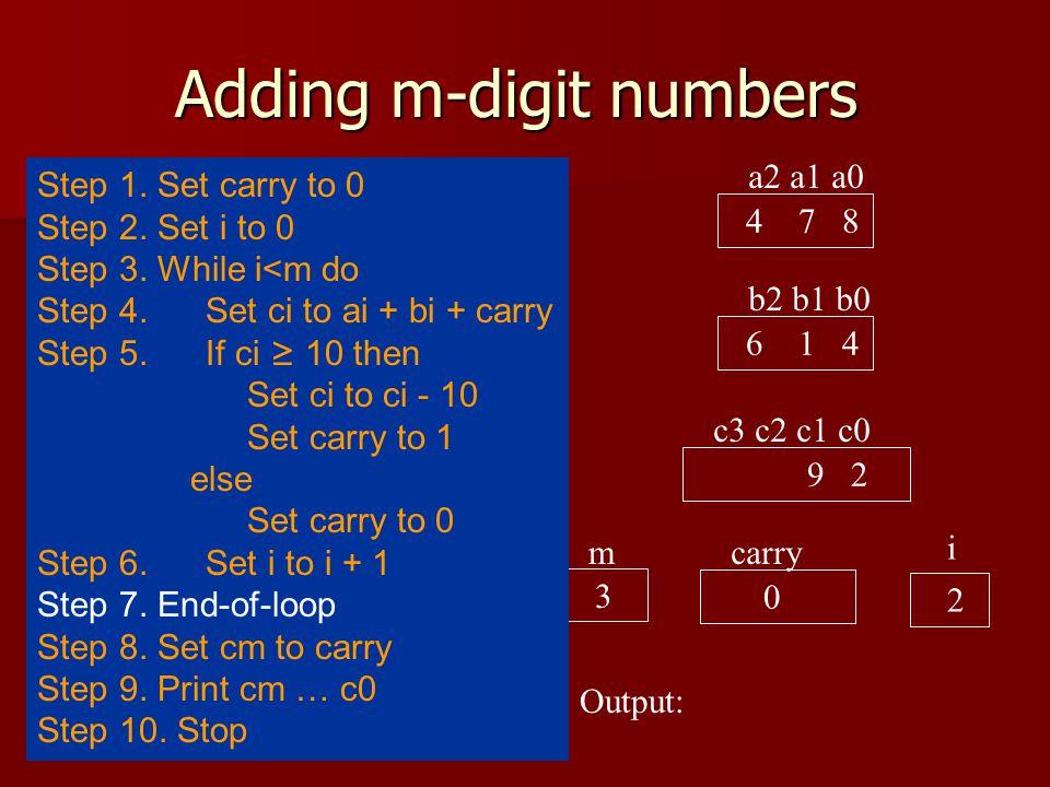 Adding m-digit numbers a2 a1 a0 4 7 8 b2 b1 b0 6 1 4 c3 c2 c1 c0 9 2 carry 0 i 1 Output: 3 m Step 1.