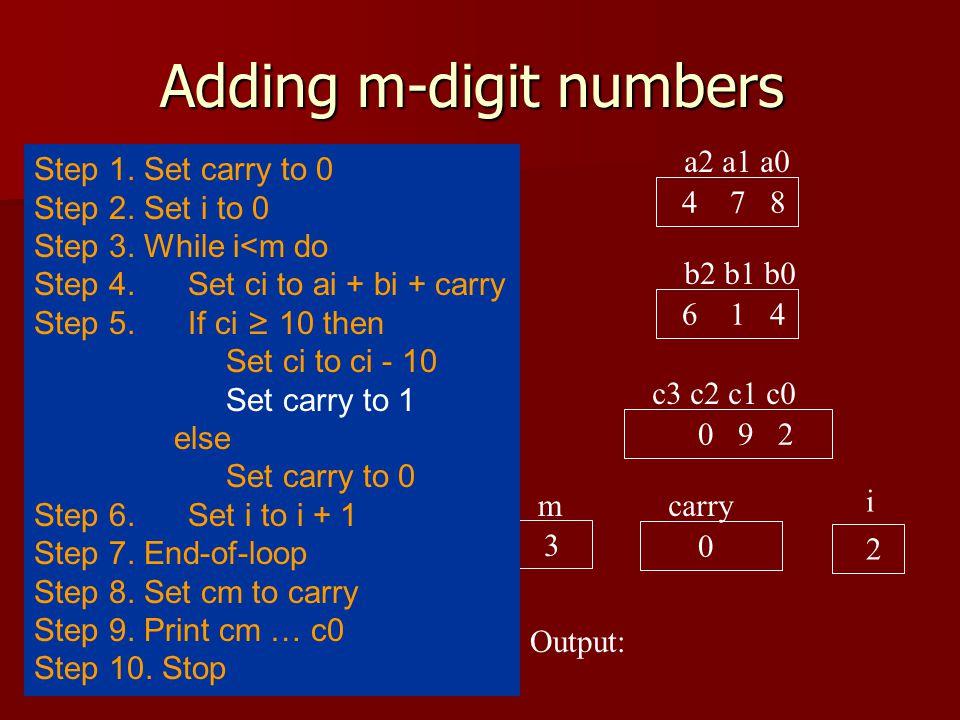 Adding m-digit numbers a2 a1 a0 4 7 8 b2 b1 b0 6 1 4 c3 c2 c1 c0 10 9 2 carry 0 i 2 Output: 3 m Step 1.