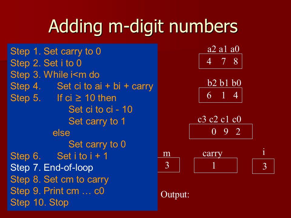 Adding m-digit numbers a2 a1 a0 4 7 8 b2 b1 b0 6 1 4 c3 c2 c1 c0 0 9 2 carry 1 i 2 Output: 3 m Step 1.