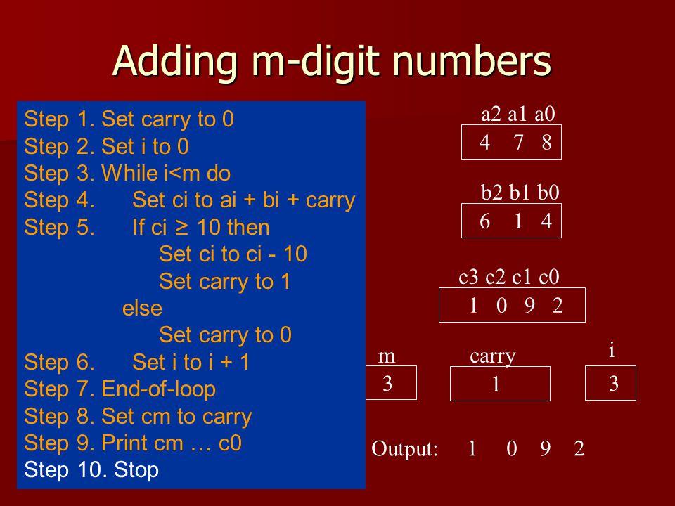 Adding m-digit numbers a2 a1 a0 4 7 8 b2 b1 b0 6 1 4 c3 c2 c1 c0 1 0 9 2 carry 1 1092 i 3 Output: 3 m Step 1.