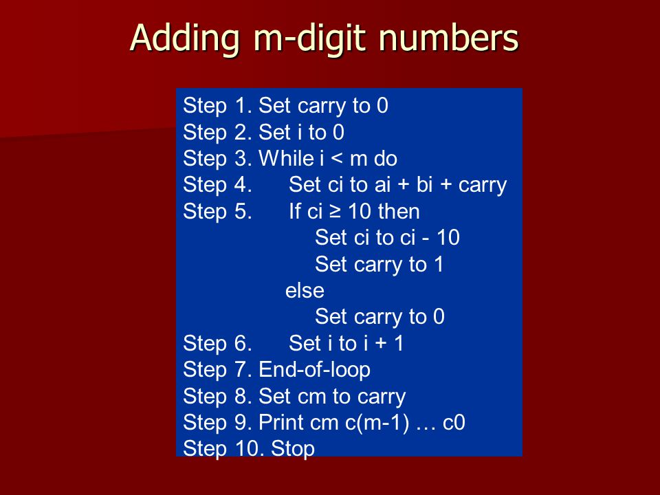 Adding m-digit numbers 478a2 a1 a0 + 614 +b2 b1 b0 1092 c3 c2 c1 c0