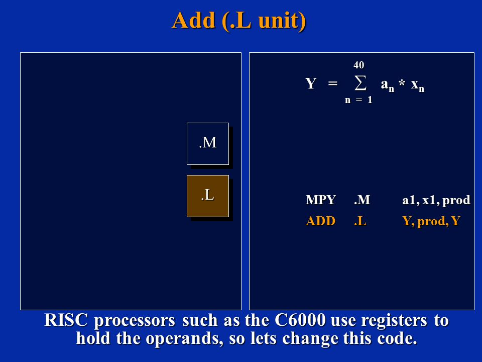 Add (.L unit).M.M.L.L Y = 40  a n x n n = 1 * MPY.Ma1, x1, prod ADD.LY, prod, Y RISC processors such as the C6000 use registers to hold the operands, so lets change this code.