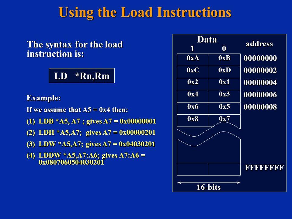 Using the Load Instructions 00000000 00000002 00000004 00000006 00000008 Data 16-bits address FFFFFFFF 0xB0xA 0xD0xC Example: If we assume that A5 = 0