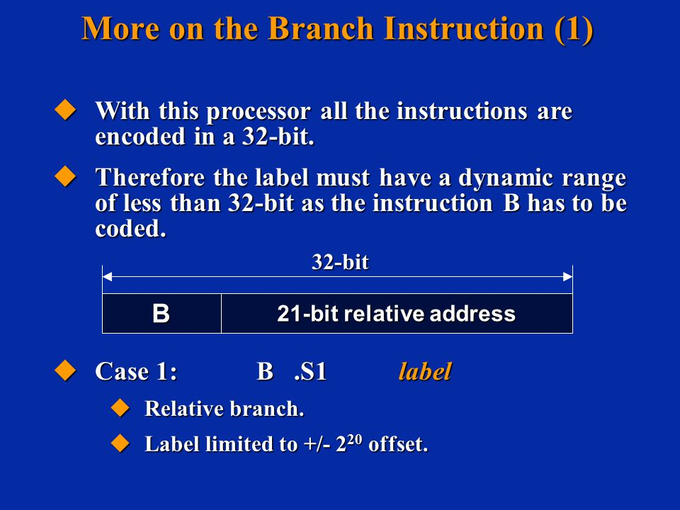  Case 1: B.S1 label  Relative branch.  Label limited to +/- 2 20 offset.