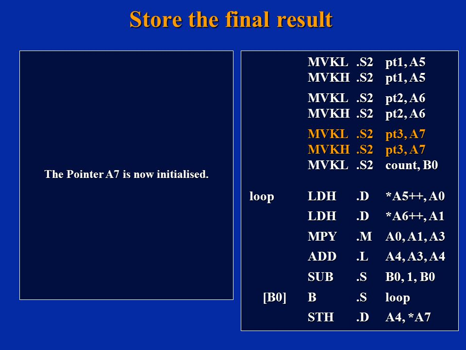Store the final result The Pointer A7 is now initialised.