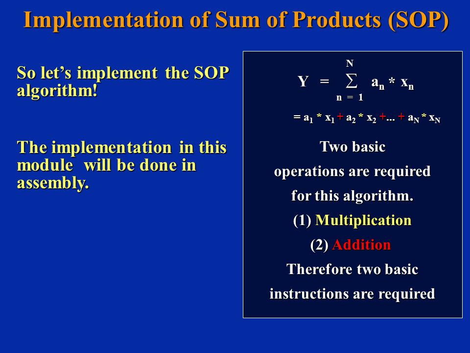 Two basic operations are required for this algorithm.
