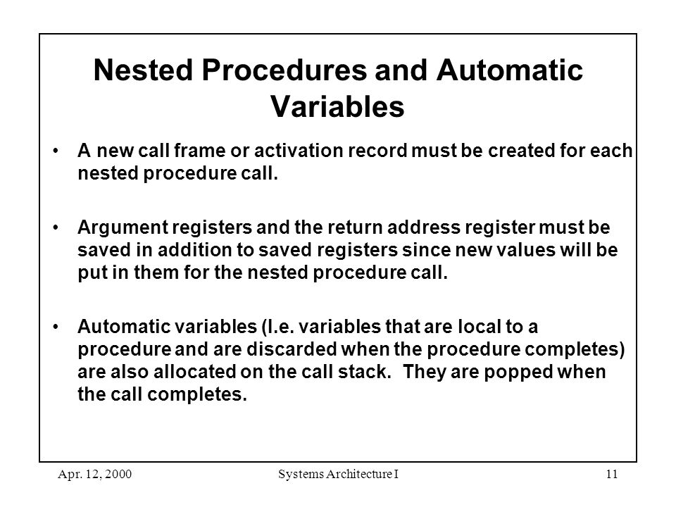 Apr. 12, 2000Systems Architecture I11 Nested Procedures and Automatic Variables A new call frame or activation record must be created for each nested