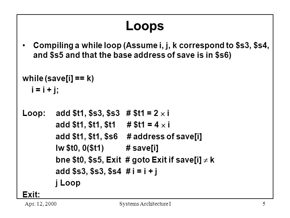 Apr. 12, 2000Systems Architecture I5 Loops Compiling a while loop (Assume i, j, k correspond to $s3, $s4, and $s5 and that the base address of save is
