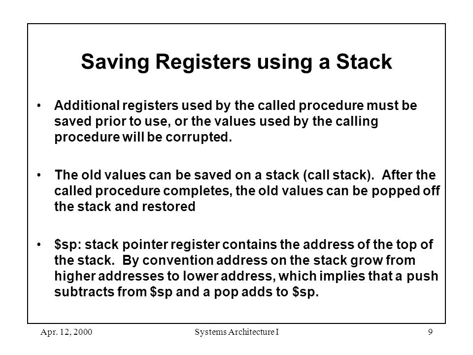 Apr. 12, 2000Systems Architecture I9 Saving Registers using a Stack Additional registers used by the called procedure must be saved prior to use, or t