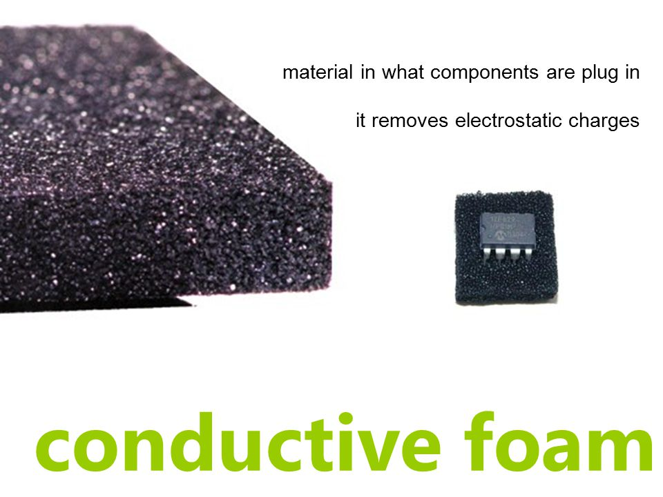 conductive foam material in what components are plug in it removes electrostatic charges