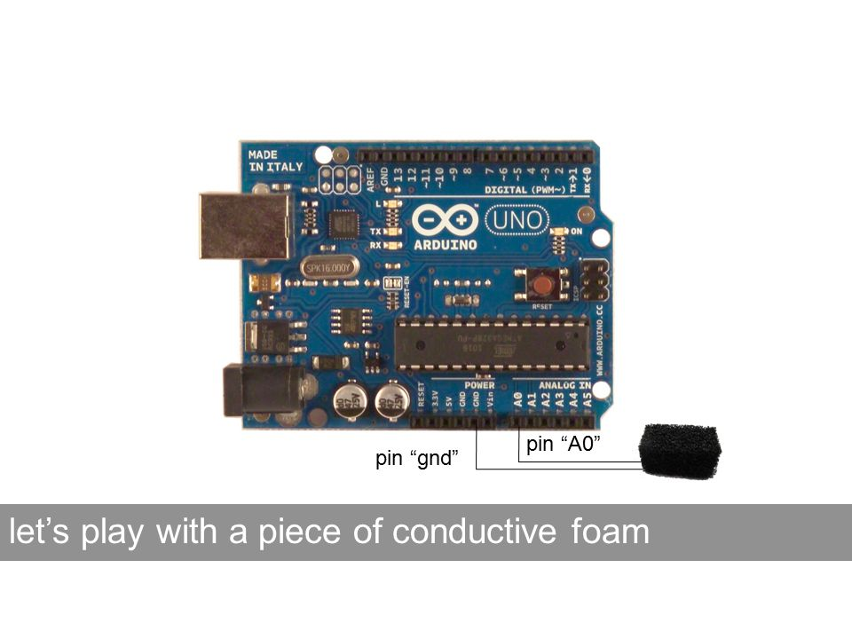pin gnd pin A0 let's play with a piece of conductive foam