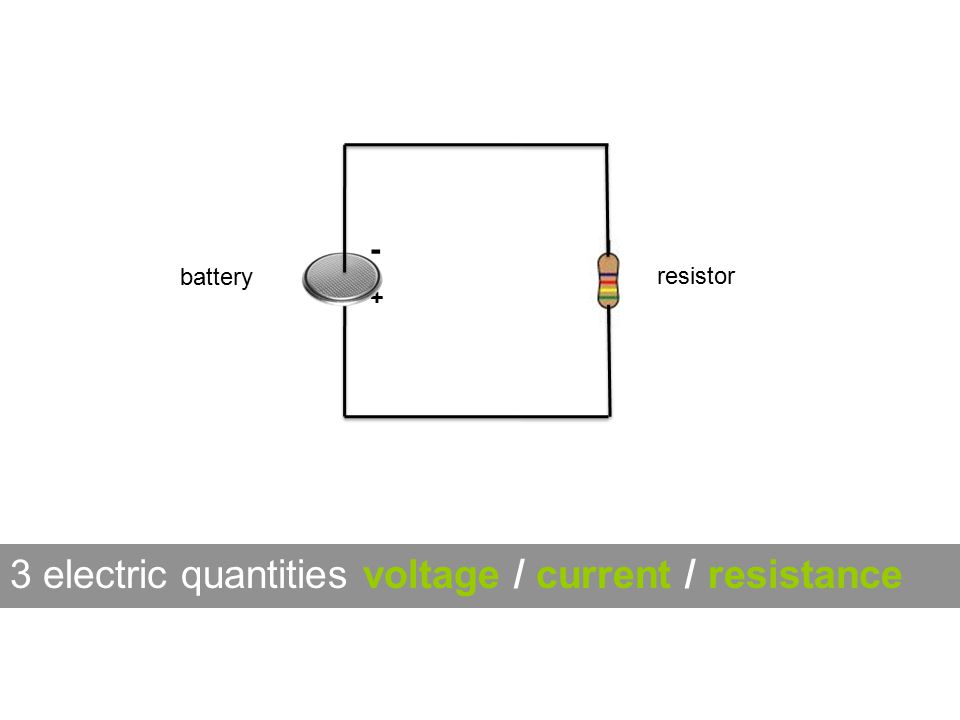 -+-+ 3 electric quantities voltage / current / resistance battery resistor