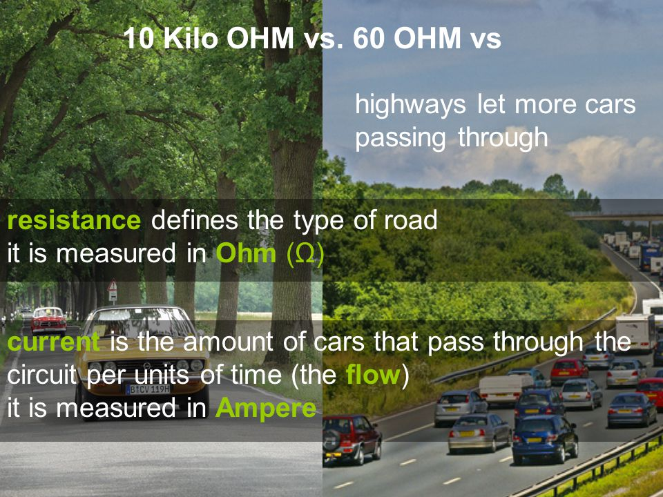 resistance defines the type of road it is measured in Ohm (Ω) 10 Kilo OHM vs.