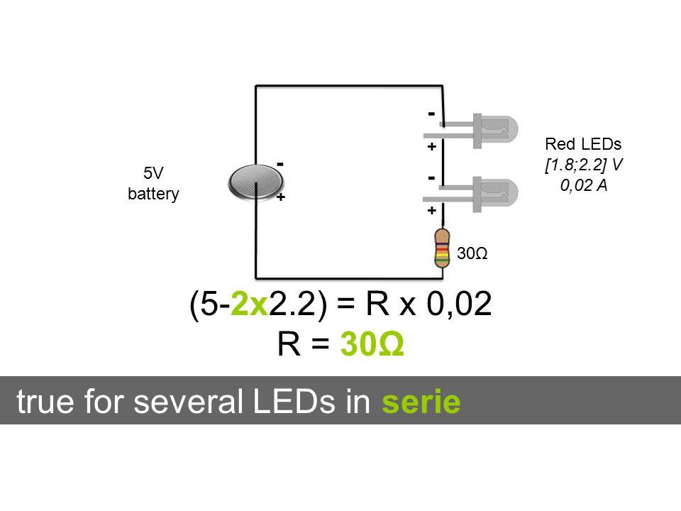 -+-+ -+-+ true for several LEDs in serie -+-+ 5V battery Red LEDs [1.8;2.2] V 0,02 A (5-2x2.2) = R x 0,02 R = 30Ω 30Ω