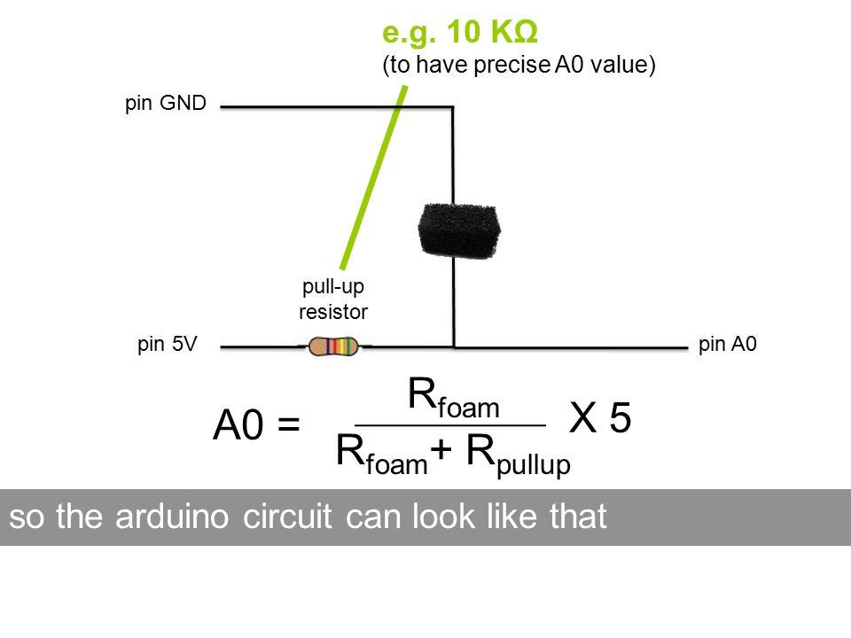pin 5V R foam + R pullup R foam X 5 A0 = so the arduino circuit can look like that e.g.