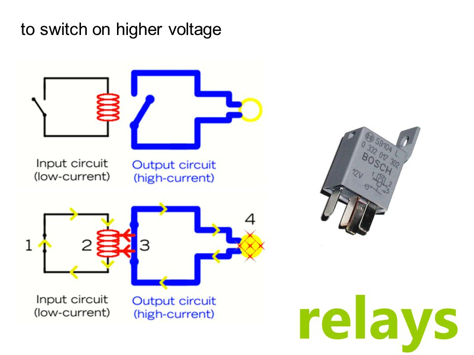 relays to switch on higher voltage