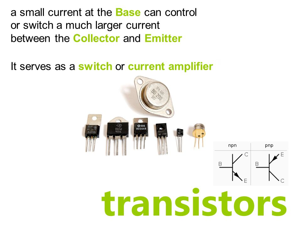 transistors a small current at the Base can control or switch a much larger current between the Collector and Emitter It serves as a switch or current amplifier