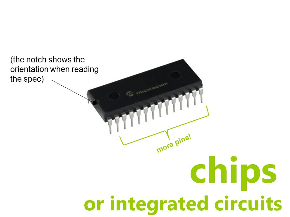 chips or integrated circuits (the notch shows the orientation when reading the spec) more pins!