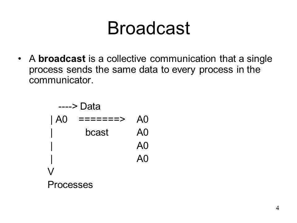 4 Broadcast A broadcast is a collective communication that a single process sends the same data to every process in the communicator.