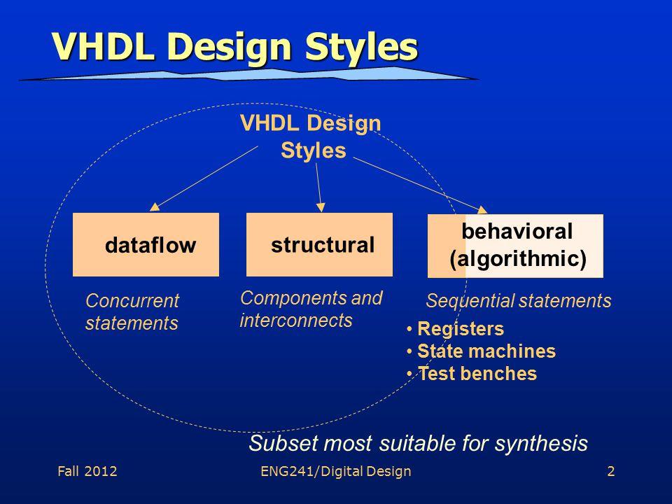 Fall 2012ENG241/Digital Design13 Overall Design