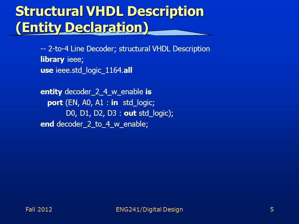 Fall 2012ENG241/Digital Design6 Structural VHDL Description (Signals) A0_n A1_n N0 N3 N1 N2