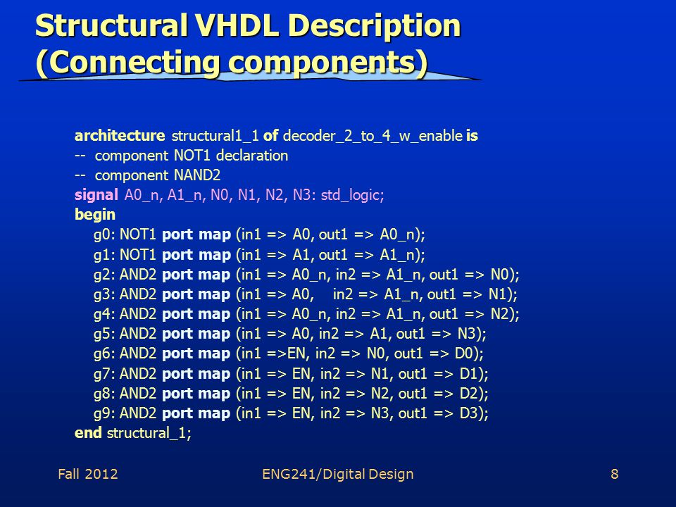 Fall 2012ENG241/Digital Design8 Structural VHDL Description (Connecting components) architecture structural1_1 of decoder_2_to_4_w_enable is -- component NOT1 declaration -- component NAND2 signal A0_n, A1_n, N0, N1, N2, N3: std_logic; begin g0: NOT1 port map (in1 => A0, out1 => A0_n); g1: NOT1 port map (in1 => A1, out1 => A1_n); g2: AND2 port map (in1 => A0_n, in2 => A1_n, out1 => N0); g3: AND2 port map (in1 => A0, in2 => A1_n, out1 => N1); g4: AND2 port map (in1 => A0_n, in2 => A1_n, out1 => N2); g5: AND2 port map (in1 => A0, in2 => A1, out1 => N3); g6: AND2 port map (in1 =>EN, in2 => N0, out1 => D0); g7: AND2 port map (in1 => EN, in2 => N1, out1 => D1); g8: AND2 port map (in1 => EN, in2 => N2, out1 => D2); g9: AND2 port map (in1 => EN, in2 => N3, out1 => D3); end structural_1;