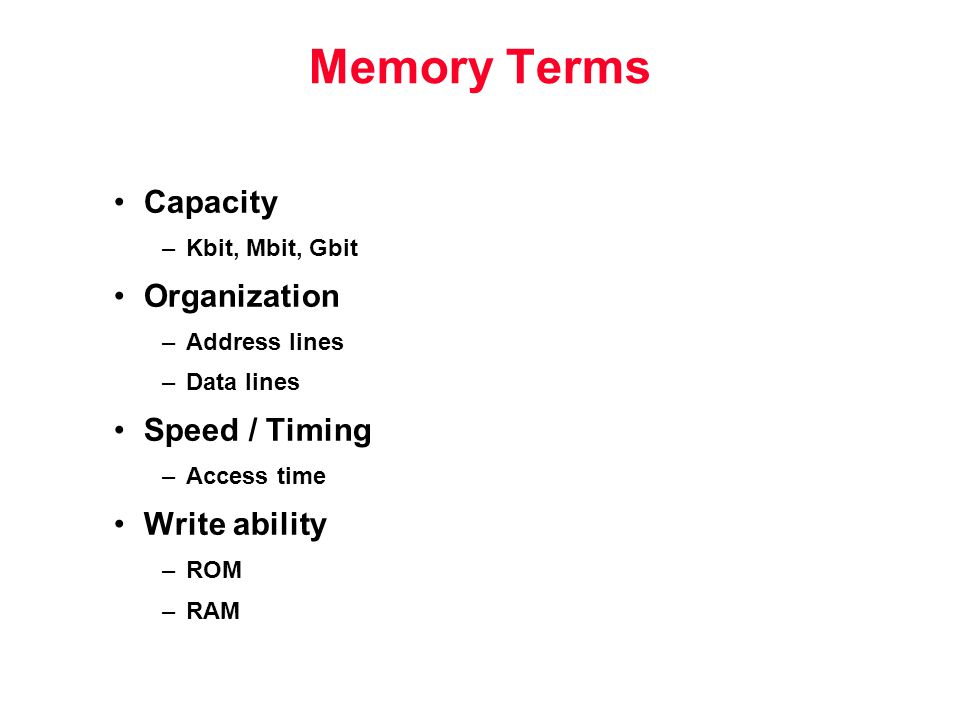 Memory Terms Capacity –Kbit, Mbit, Gbit Organization –Address lines –Data lines Speed / Timing –Access time Write ability –ROM –RAM