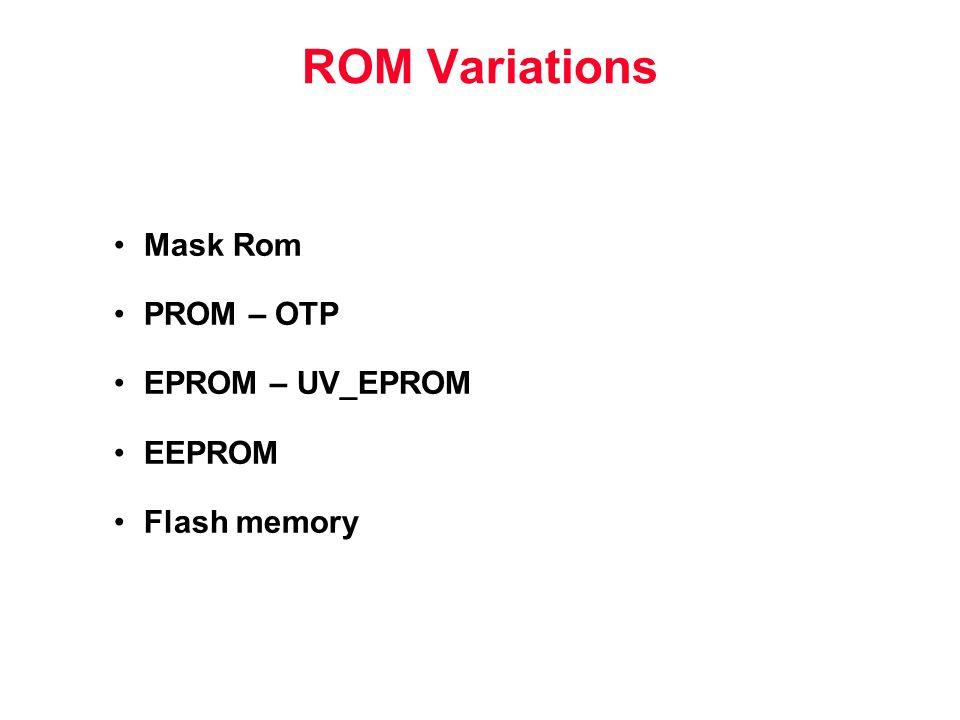 ROM Variations Mask Rom PROM – OTP EPROM – UV_EPROM EEPROM Flash memory