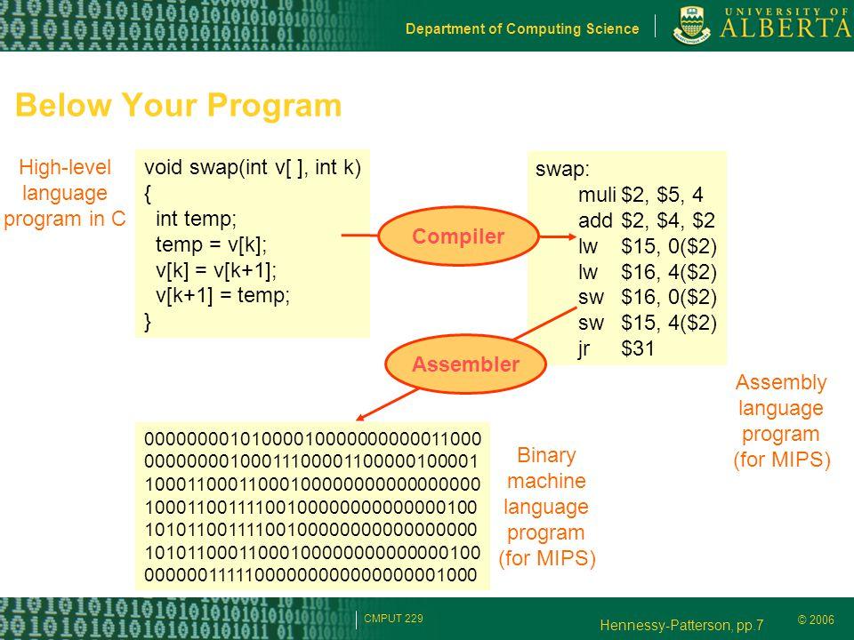 © 2006 Department of Computing Science CMPUT 229 Below Your Program High-level language program in C void swap(int v[ ], int k) { int temp; temp = v[k