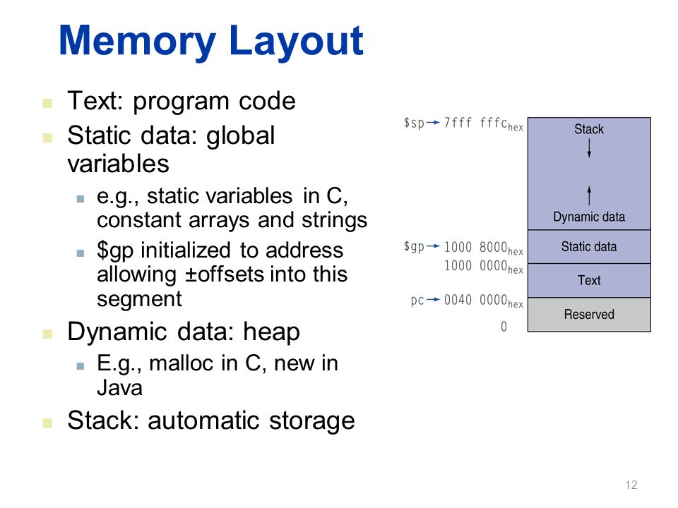 Memory Layout Text: program code Static data: global variables e.g., static variables in C, constant arrays and strings $gp initialized to address all