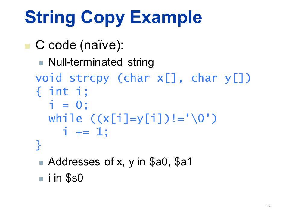 String Copy Example C code (naïve): Null-terminated string void strcpy (char x[], char y[]) { int i; i = 0; while ((x[i]=y[i])!='\0') i += 1; } Addres