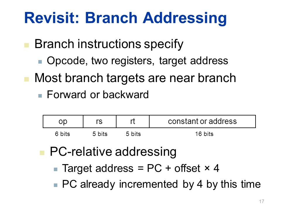 Revisit: Branch Addressing Branch instructions specify Opcode, two registers, target address Most branch targets are near branch Forward or backward o
