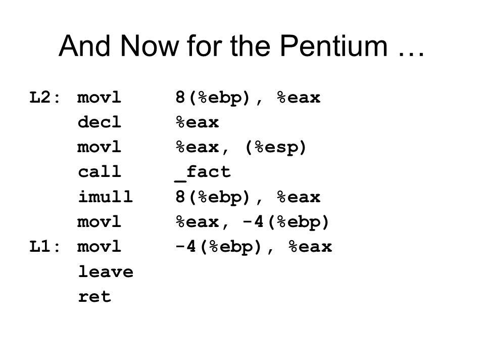 And Now for the Pentium … L2:movl8(%ebp), %eax decl%eax movl%eax, (%esp) call_fact imull8(%ebp), %eax movl%eax, -4(%ebp) L1:movl-4(%ebp), %eax leave ret