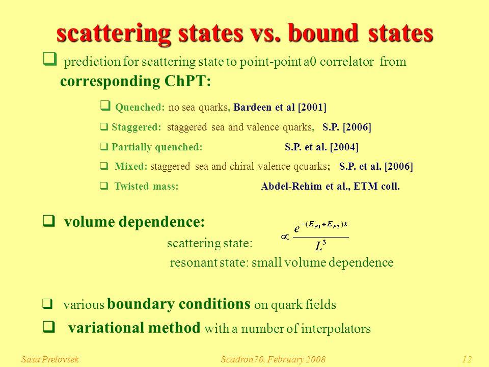 Sasa PrelovsekScadron70, February 200812 scattering states vs.