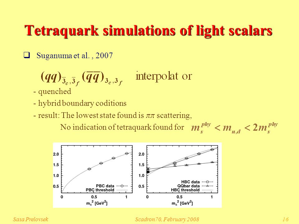 Sasa PrelovsekScadron70, February 200816 Tetraquark simulations of light scalars  Suganuma et al., 2007 - quenched - hybrid boundary coditions - result: The lowest state found is pp scattering, No indication of tetraquark found for