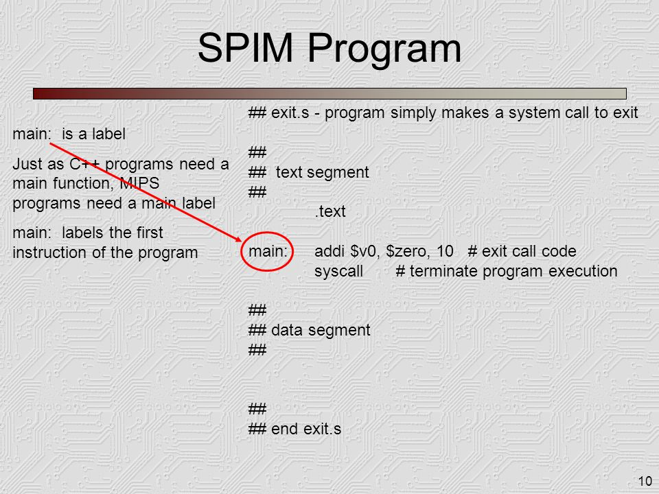10 SPIM Program ## exit.s - program simply makes a system call to exit ## ## text segment ##.text main:addi $v0, $zero, 10 # exit call code syscall # terminate program execution ## ## data segment ## ## end exit.s main: is a label Just as C++ programs need a main function, MIPS programs need a main label main: labels the first instruction of the program
