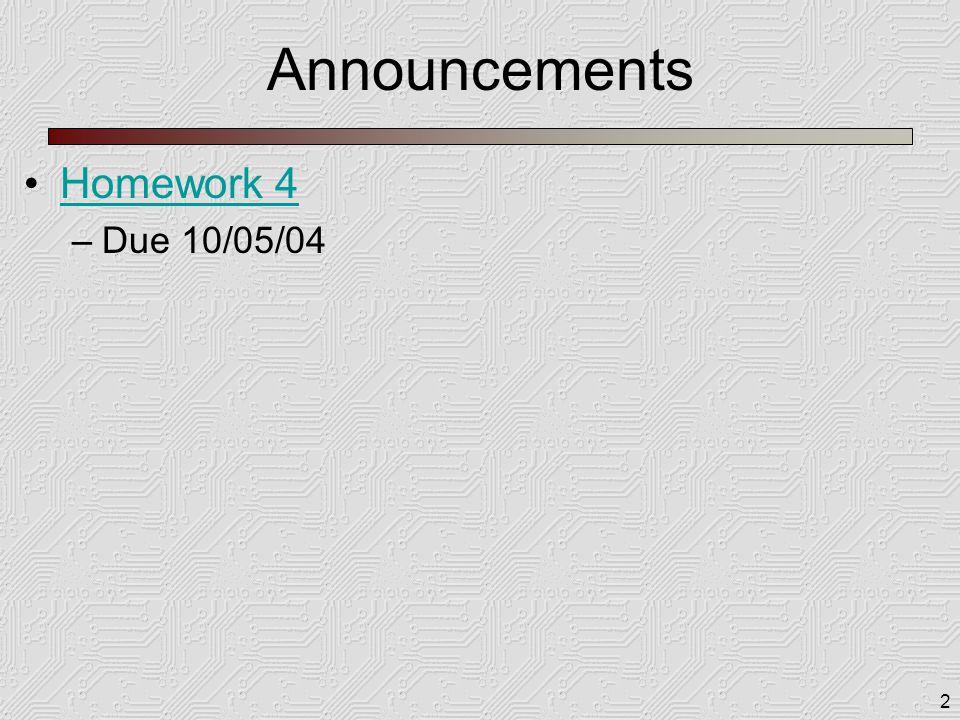 2 Announcements Homework 4 –Due 10/05/04